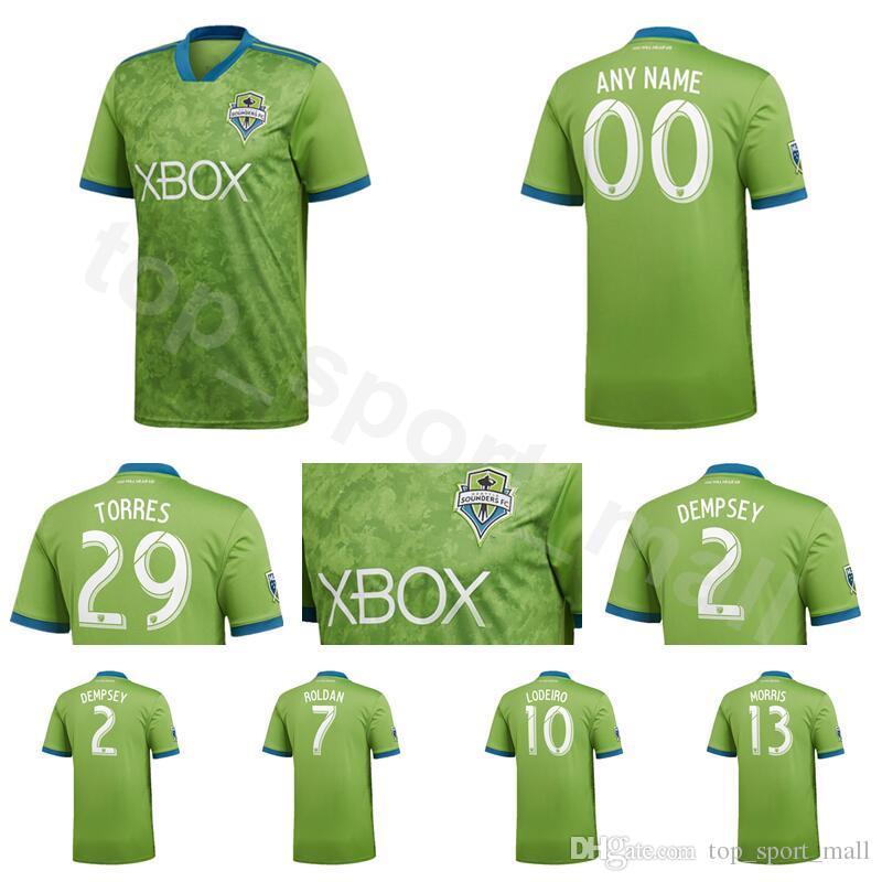 2018 2019 MLS Seattle Sounders Jersey Hombres Fútbol 2 DEMPSEY 13 MORRIS 29  TORRES 6 ALONSO 17 BRUIN Equipo De La Camiseta De Fútbol Equipo Verde Por  ... 56ff7b5be3676
