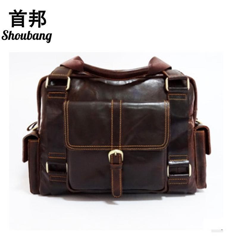 fc6adbd8e032 SHOUBANG Enuine Leather Men Bag Vintage Men Laptop Briefcase Business Bag  Cow Leather Men Handbag Shoulder Messenger Bag Mens Leather Bags Italian  Leather ...