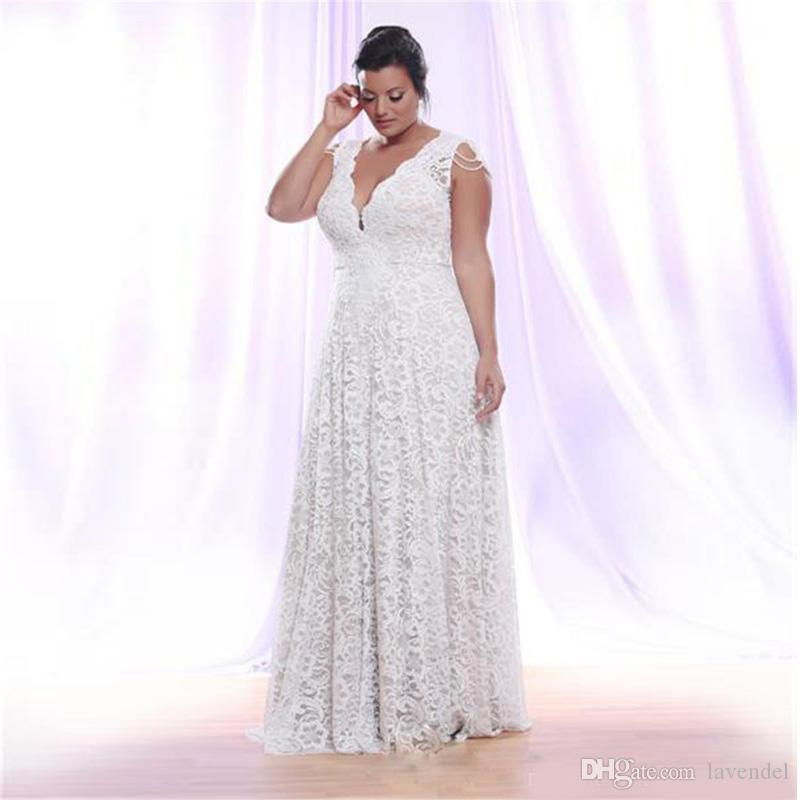 9f1452a0be1 Discount Cheap Full Lace Plus Size Wedding Dresses With Removable Long  Sleeves V Neck Bridal Gowns Floor Length A Line Wedding Gown Wedding Dresses  Nyc ...