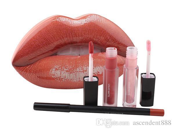 Hot Sale Stock Beauty Strobes Brillo de labios Set es Tin Box Liquid Lipstick + Lip Contour Liner Lápiz Colección Mate Lipgloss Kit Gratis