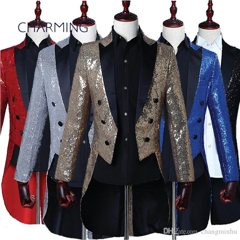 Prom tux rental mens tuxedos Magician stage choir Symphony Orchestra conductor costume singer performing tuxedo jacket