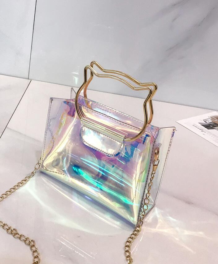 4cf1e9c6c Women Plastic Messenger Handbag Transparent Laser Handbag Clutch Shoulder  Crossbody Bag Chain Bag Clear Bag Evening Purse Cat Purses Designer Handbags  From ...