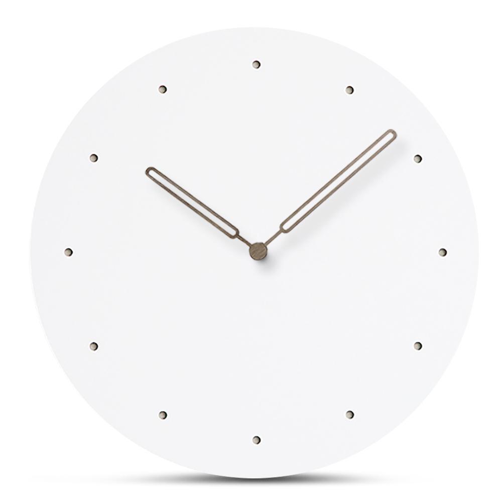 Acheter Moderne Nordique En Bois Horloge Murale Simple Blanc MDF ...