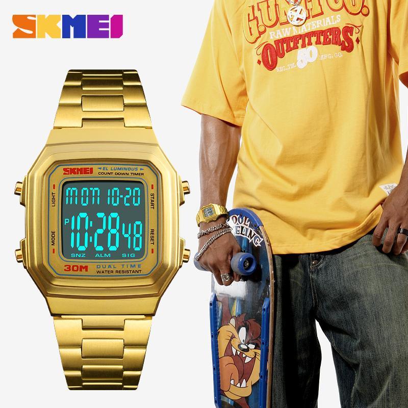 Compre SKMEI Marca Hip Hop Quadrado De Aço Inoxidável Relógio Dos Homens De  Luxo Esporte Relógios Digitais Casuais Relógios De Pulso De Negócios Relogio  ... c468e932fc