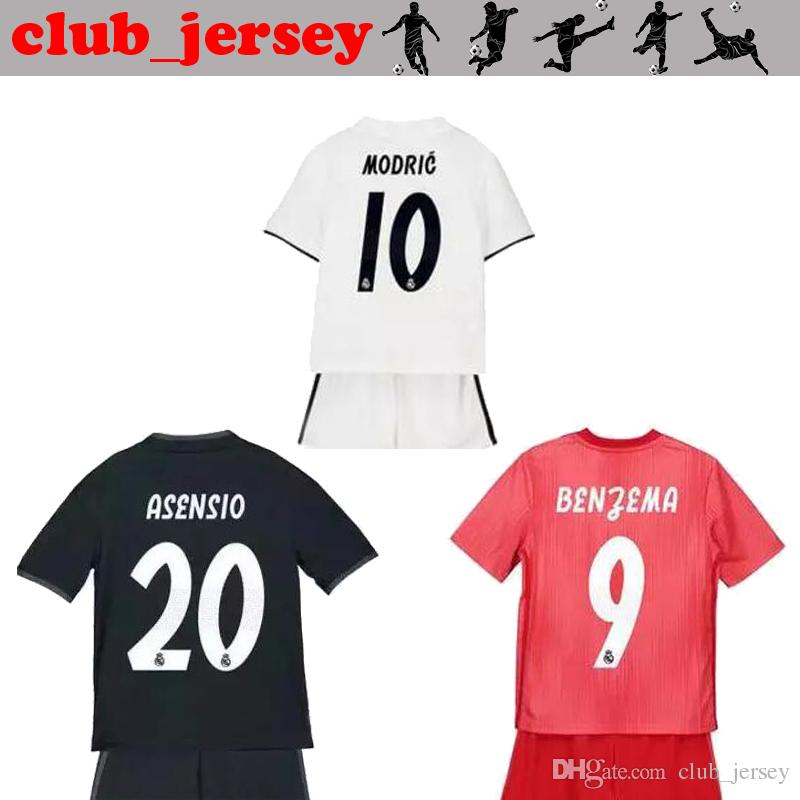 premium selection 307c3 44773 18 19 real madrid kids kits Home away 3rd soccer jersey BALE RAMOS ISCO  MODRIC BENZAMA ASENSIO MARIANO KROOS MARCELO child Football Shirt