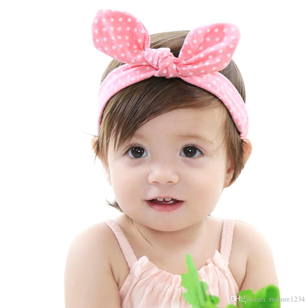 f28f65c0de2 Baby Girl Solid Rabbit Ear Knot Headband Kids Cotton Turban Knitted Elastic Hair  Accessories Children Cross Headwear For Children Decorative Hair Bands ...