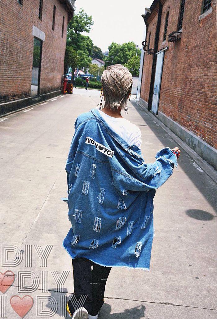 European Fashion Punk Ladies Cool Street Wear Jeans Jacket Stylish Vintage Ripped Denim Jacket Coat Loose Outwear for Women