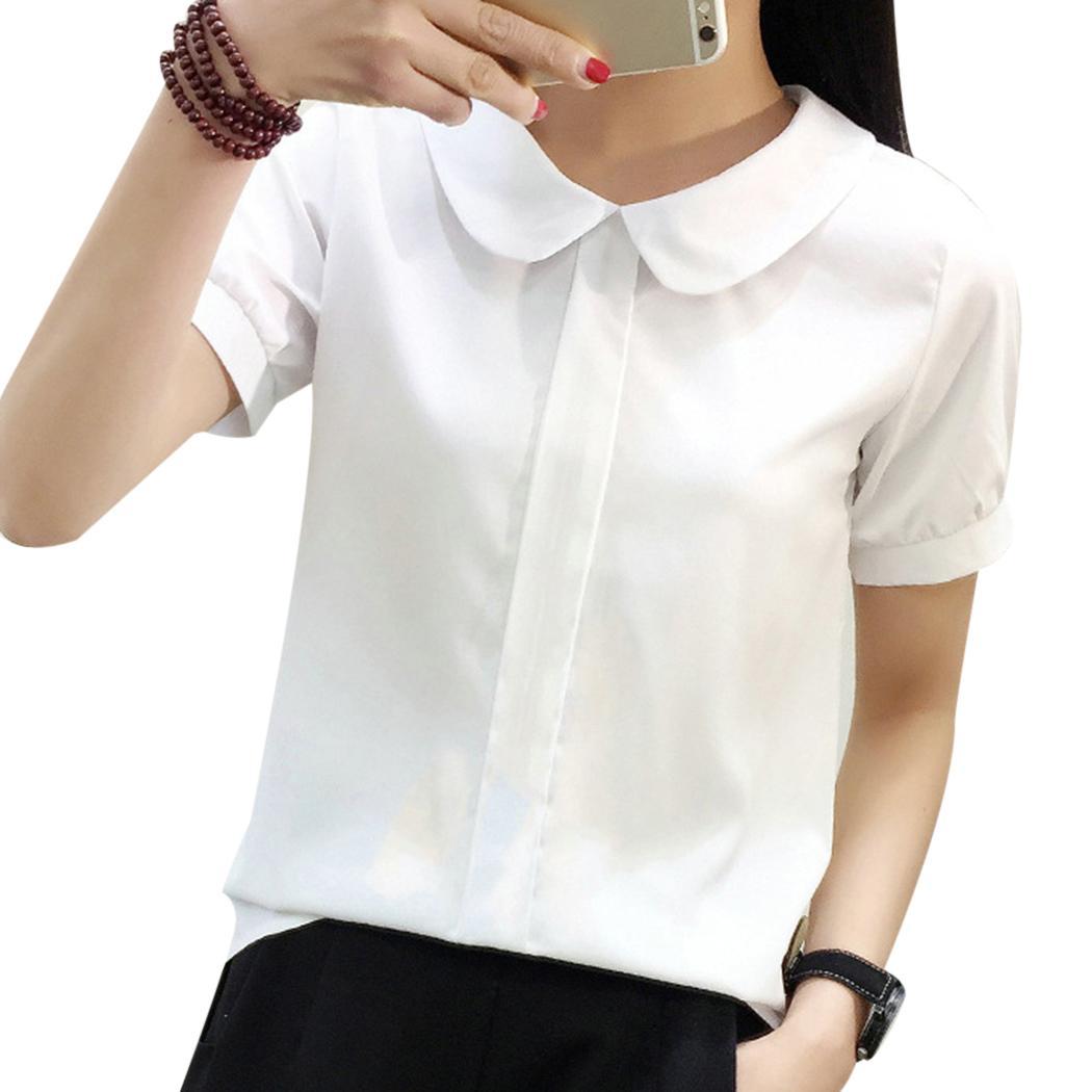 ab1bc7727dd7 2018 moda Peter Pan cuello blusa de mujer camisas de manga corta blusas  gasa blanco mujeres blusas de oficina señoras OL Tops mujer