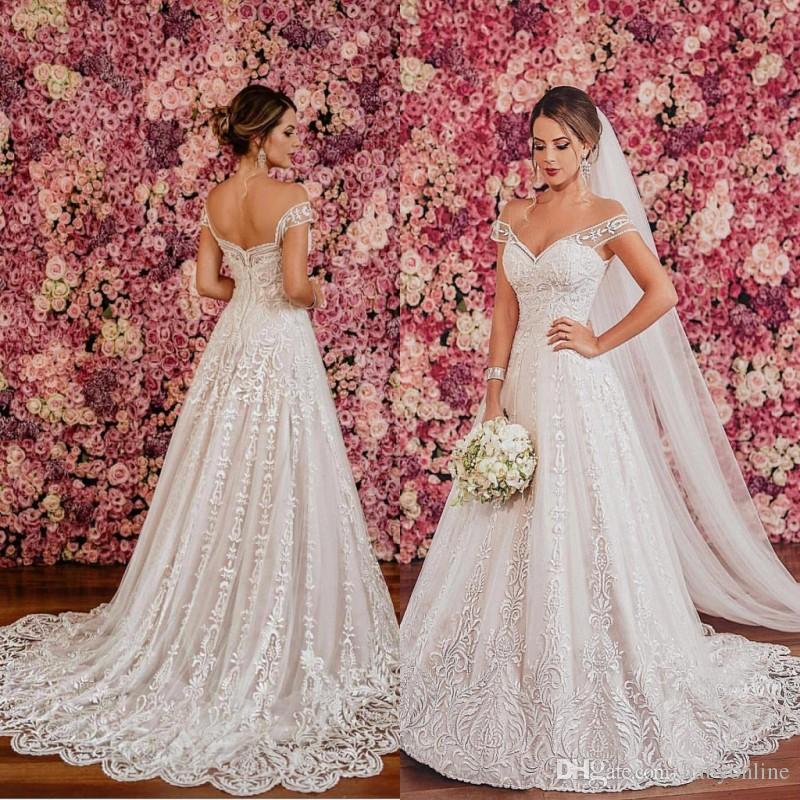 compre hermosos vestidos de novia de encaje de marfil blanco 2018
