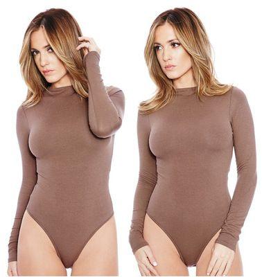 Femmes Solides Courbe Combinaisons Femmes manches longues Skinny Shapers Col Body Col Body Minceur Taille haute Rompes S-XL EUR Taille des États-Unis