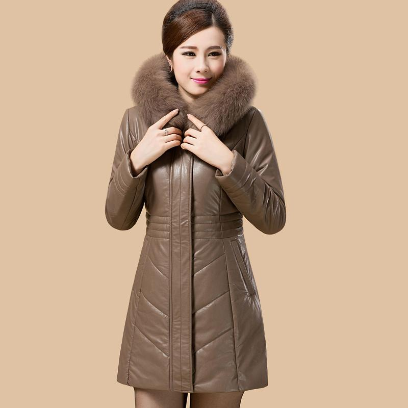 0794e7ba42e 2017 Ultra Plus Size Faux Sheepskin Leather Jacket Women Coat Female Slim  Faux Fox Fur Collar Hooded Down Cotton Parka WUJ0661 UK 2019 From Maoyili