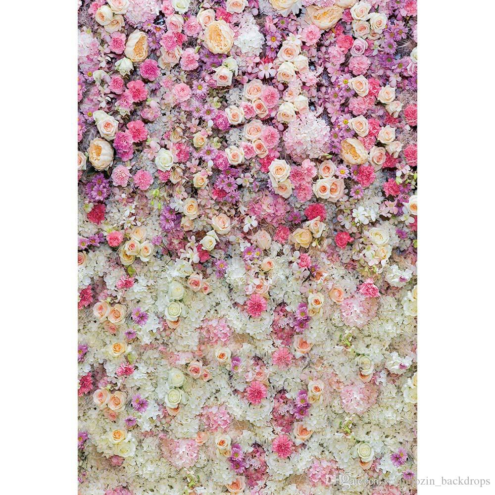 pink cream white flowers wall baby newborn photography backdrops