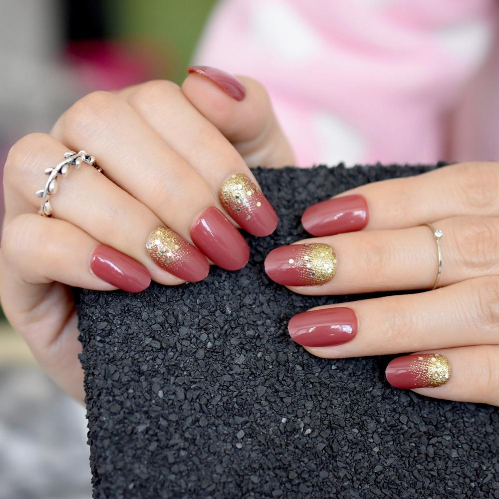 /Kit Sparkly Red Short Full Nails Gold Glitter Round UV