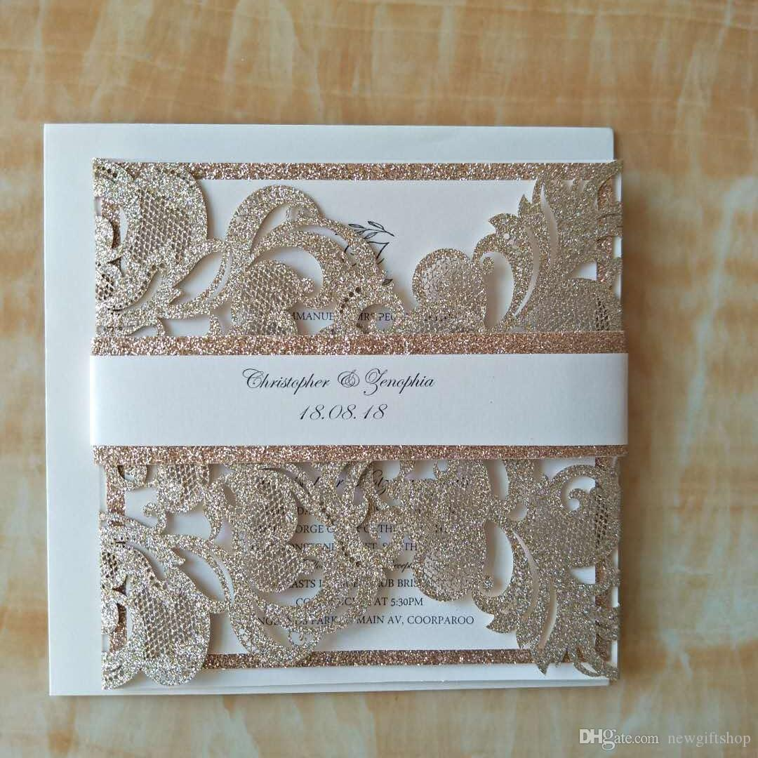Luxury Chagne Gold Glitter Wedding Invitations Elegant Laser Cut Dinner Party Invites With Bandenvelope Invitation Wordings For Friends: Gold Laser Cut Wedding Invitations At Websimilar.org
