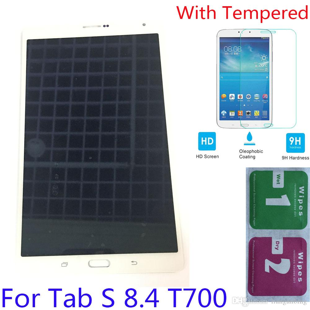 NEW LCD Display Touch Screen Digitizer For Samsung Galaxy Tab S 8.4 2015 T700 White Black With Tempered Glass DHL logistics