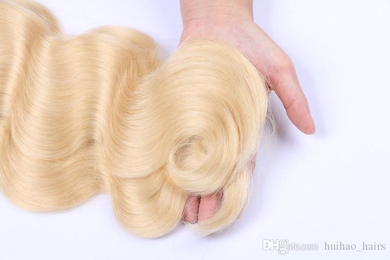 613 Russe Cheveux Vierges Blonds Avec Fermeture 3 Faisceaux Avec 4 * 4 Dentelle Fermeture Top Vague de Corps Cheveux Humains Avec Fermeture de Partie Libre