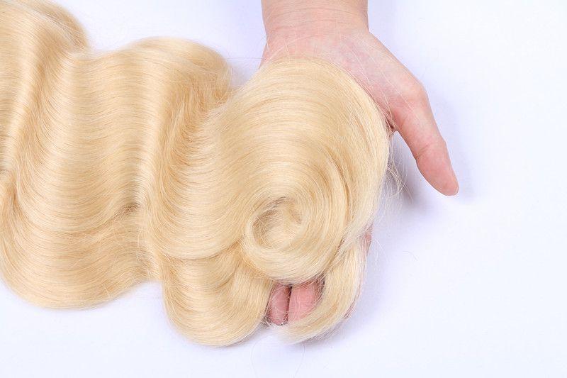 Peruvian Virgin Bundles de cheveux humains # 613 Bundles de cheveux blonds Double trame vague de corps tisse par Top Grade de huihao_hairs
