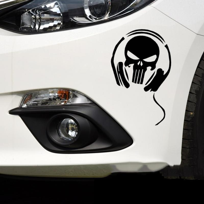 18*12cm Car Stickers Skull Ghost Rider Devil Headphone Creative Decals For  Tail Window Waterproof