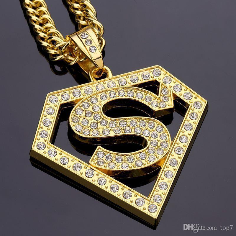 360aabb6107 Compre 2018 Diamante Super Homem Hip Hop Colar De Pingente De Rua Hip Hop  Jóias Para Homens Mulheres Hiphop Banhado A Prata De Top7