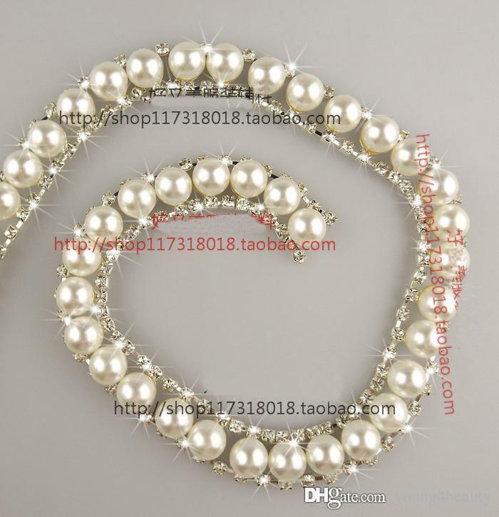 el envío libre los 90cm / pack de la perla nupcial recorta la cadena cristalina clara del metal del rhinestone que cose encendido para la decoración de los zapatos de vestir de las mujeres.