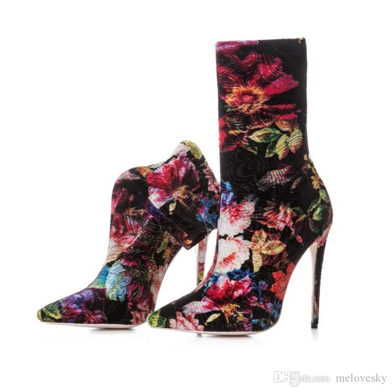 Shoes High Sale Women Flowers Boots Hot Dress Plus Heel Size Superstars Fashion Designer gbvyY6f7