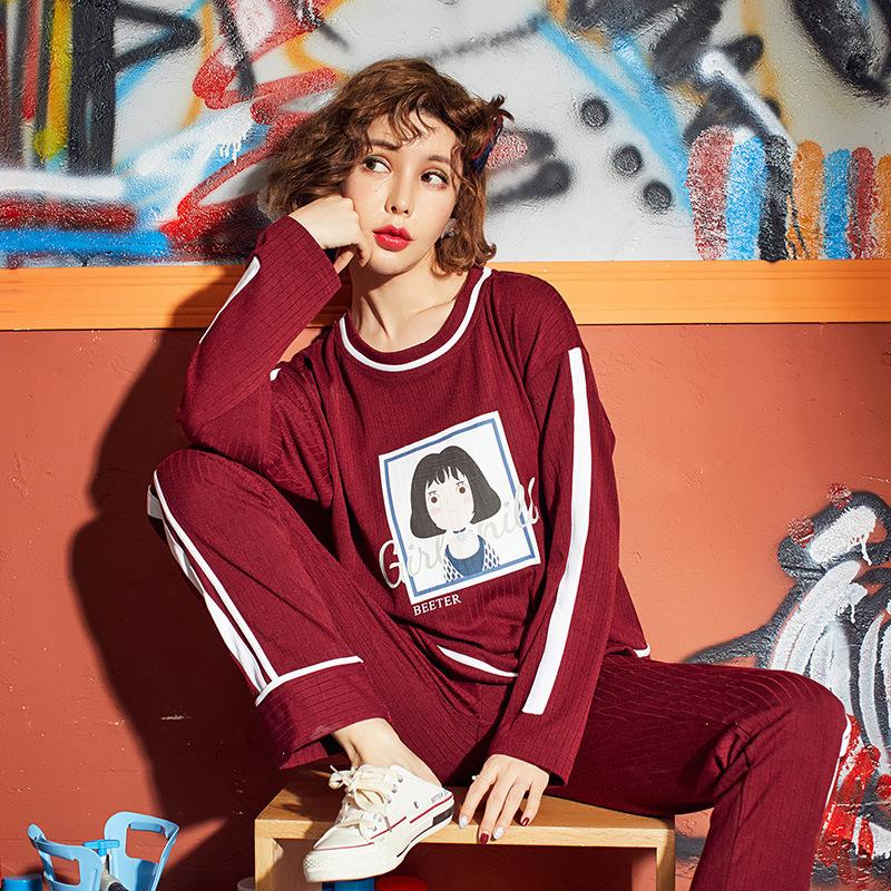 b6cefa819fb1 2019 Women Pajama Sets Autumn Cotton Pajamas Cartoon Striped High Quality  Full Length Soft Breathable Red Cute Pajamas For Women From Likejason
