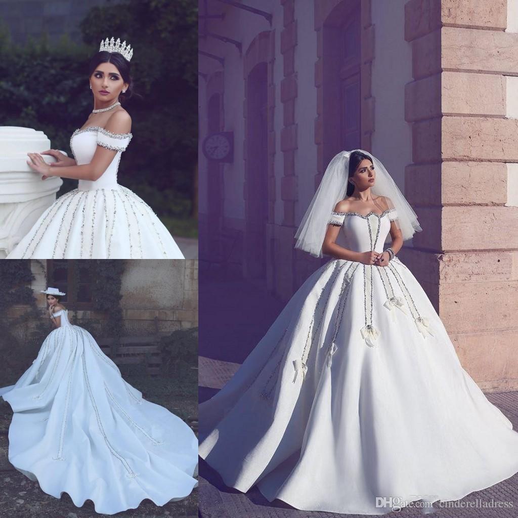Grosshandel 2018 Designer Arabisch Luxus Brautkleider Schulterfrei