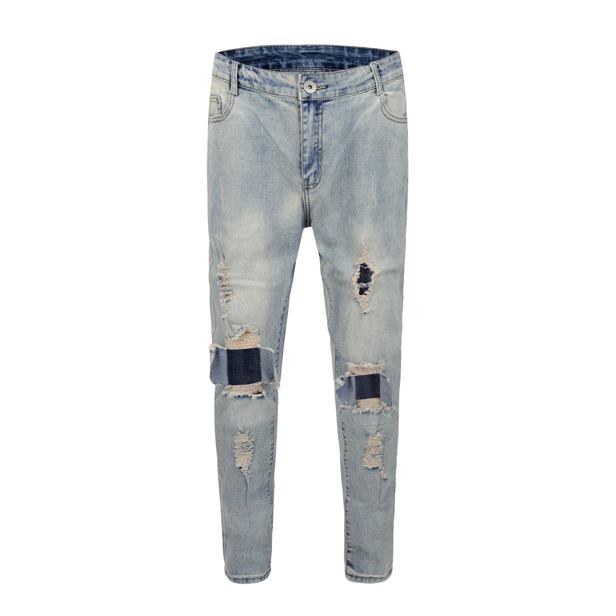 b76014e34cb2b Compre 2018 Mejor Versión RETRO DENIM BLUE Hombres Jeans Ripped Destroyed  Hombres Jeans Hip Hop Big Hole Casual Streetwear Jeans A  36.54 Del ...