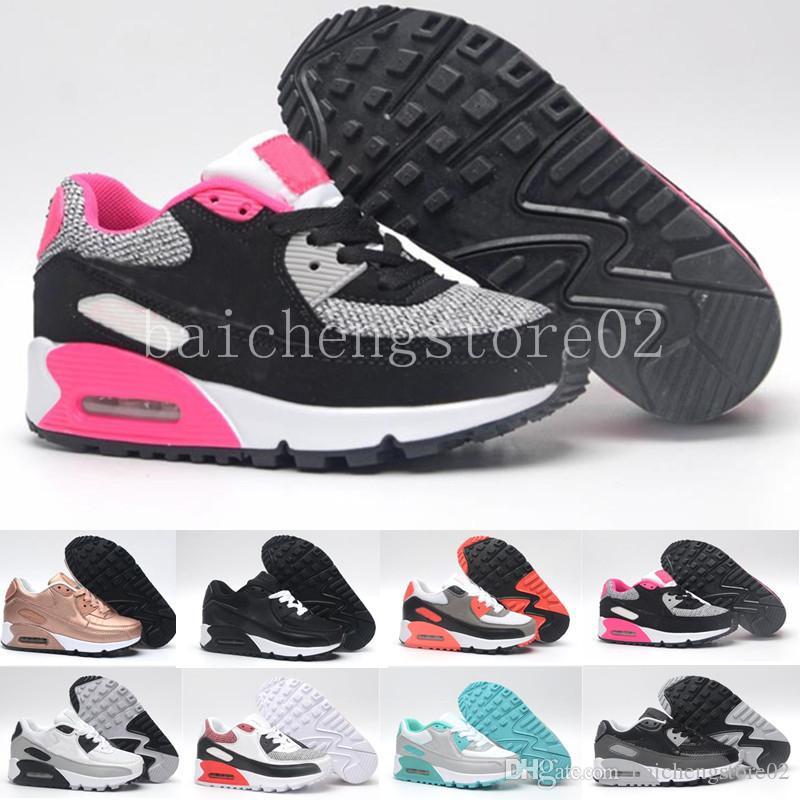 new arrival db120 26f23 Acheter Nike Air Max 90 Airmax Enfants Sneakers Chaussures Classique 90  Chaussures De Course Noir Blanc Sports Formateurs Infantile Girl Boy  Trainer Coussin ...