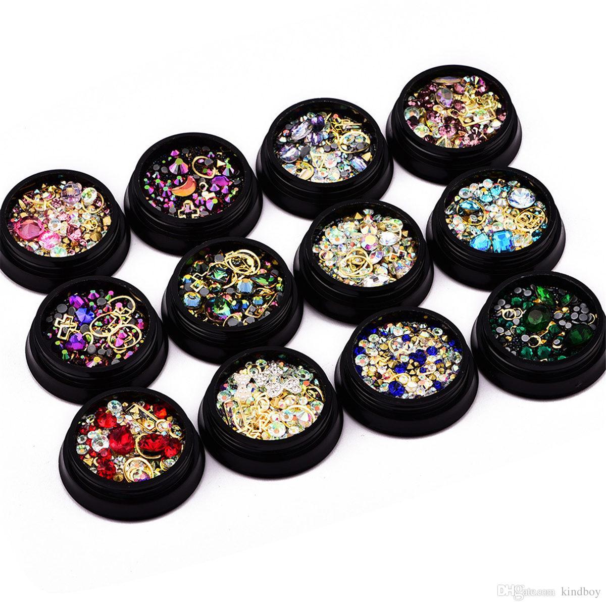 1 Box Mixed Nail Design Colorful Micro Beads And Gemstone Circle 3D ...