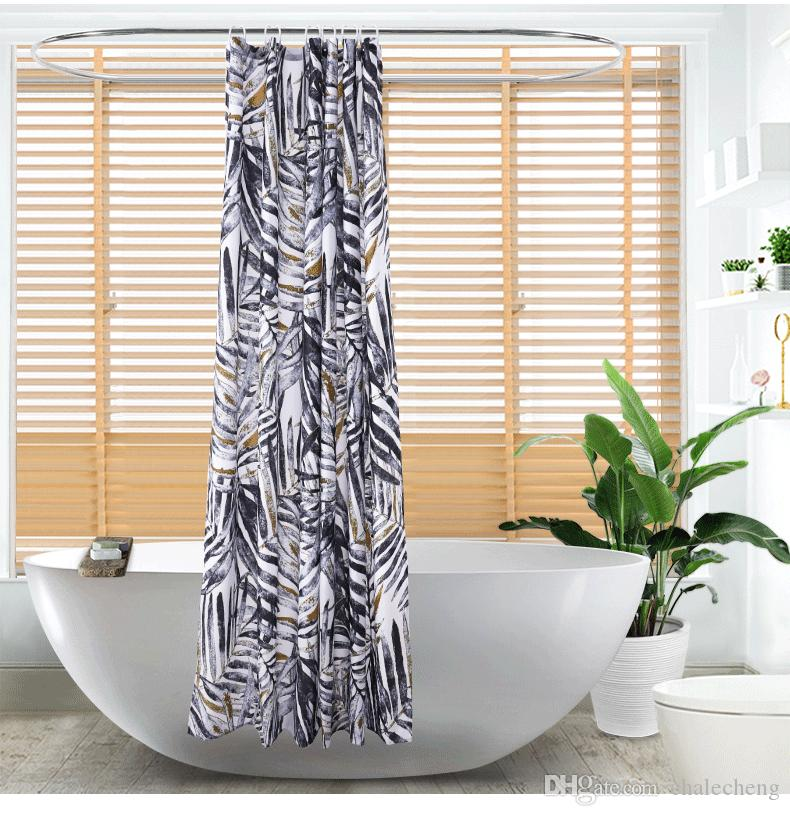 Digital Printed Oil Painting Leaves Shower Curtain Waterproof Polyester Fabric For Bathroom 180X180cm