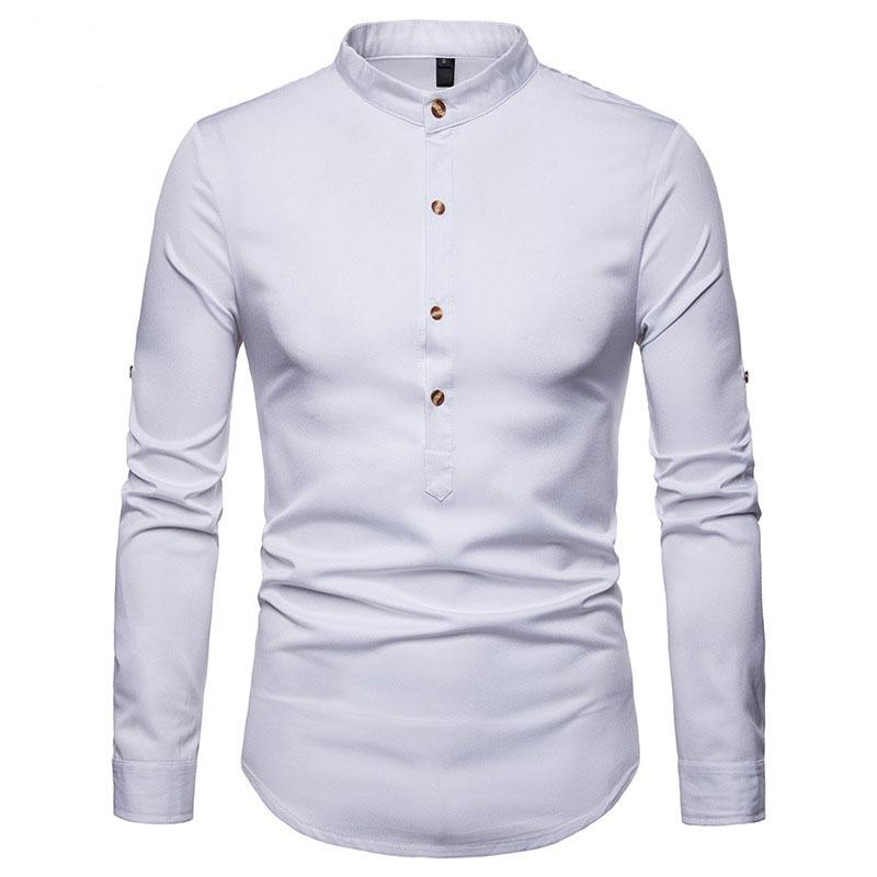 0f1d94a841 Compre Moda Branco Henley Camisa Dos Homens Slim Fit Manga Longa Camisa  Gola Mandarim Masculino Camisas Casuais De Negócios Camisa Social Masculina  De ...