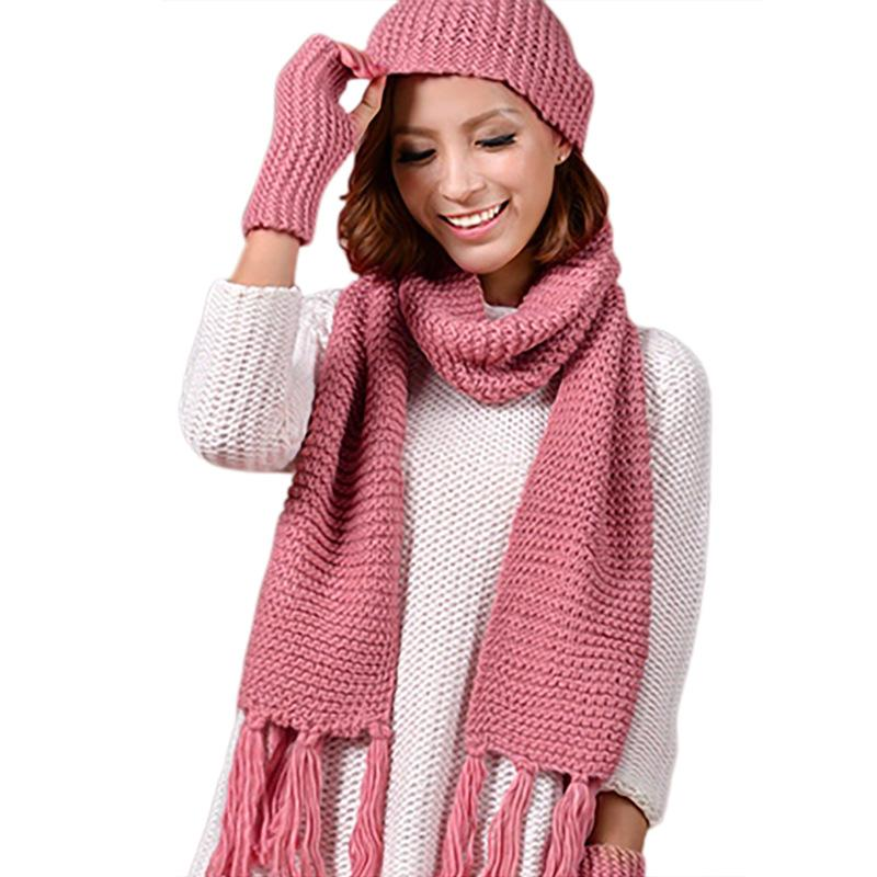 4c77d213b26 2019 Knitted Winter Hats For Women S Hat Scarf Glove Set Sets Fashion Twist  Stripes Cap Gorros Bonnet Wool Beanie Skullies From Yanzhoucheng