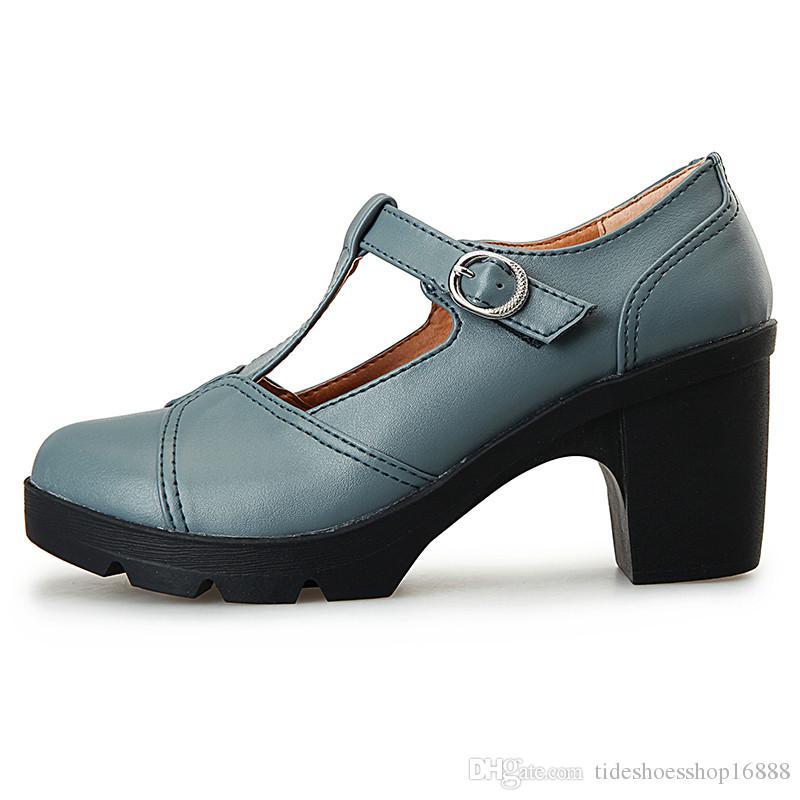 Compre Bombas Para Mujeres Tacones Altos Plataforma 2019 Zapatos Para Mujer  Tacones Primavera Otoño Fiesta Zapatos De Boda Hebilla Superficial T Correa  Sexy ... 12bc01b89509