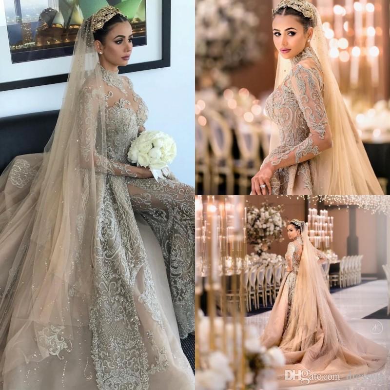 compre dubai Árabe vestidos de novia de lujo con falda desmontable