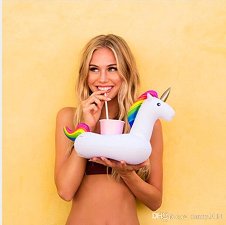 PVC 팽창 식 음료 컵 홀더 화이트 유니콘 음료 홀더 페가수스 부동 풀 비치 파티 장난감