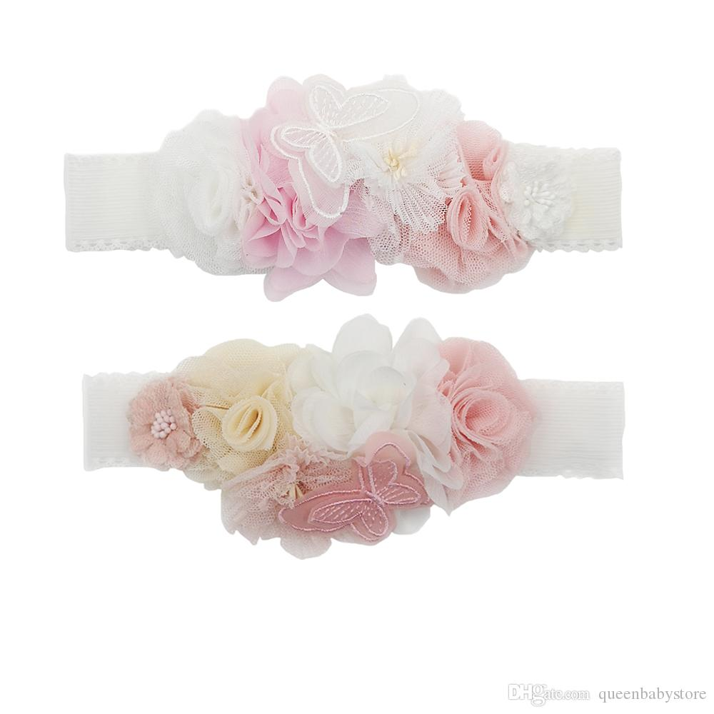 Pink White Mesh Chiffon Flower Crown Elastic Satin Headbands With