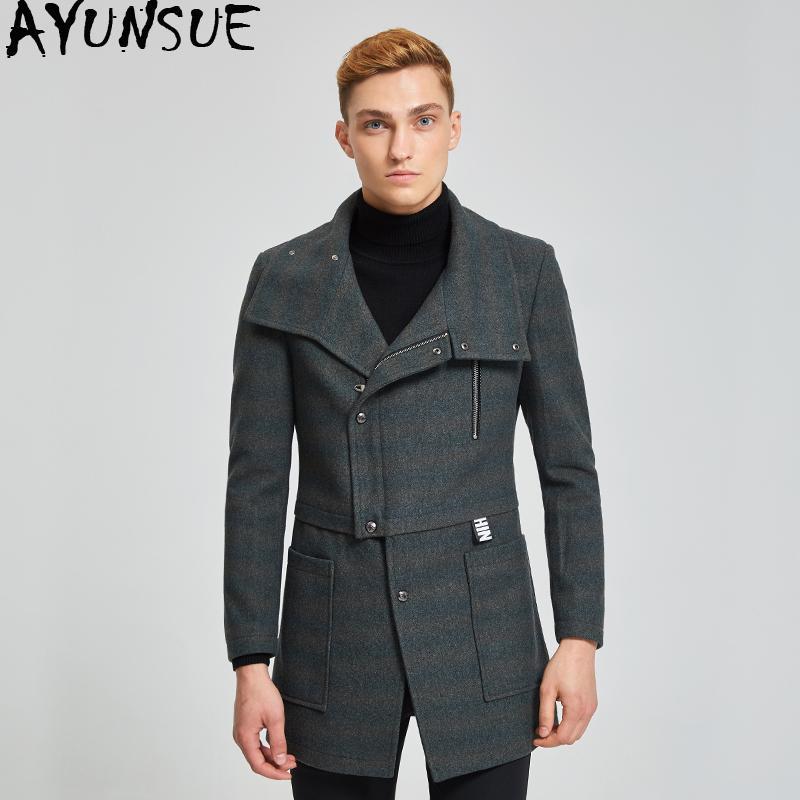 a8fb7fcb04 2019 AYUNSUE Men S Coat Short Wool Coats Man Jacket Casual Winter Coat Men  Grey Mens Coats Overcoats Abrigo Hombre KJ251 From Cailey