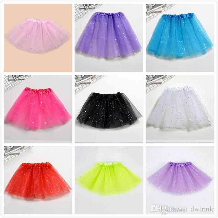 508a433d94 New Lace Yarn Girls Shining Star Dance TUTU Skirt Princess Children's Puffy  Skirts xmas Party Dress 11 Colors Free size