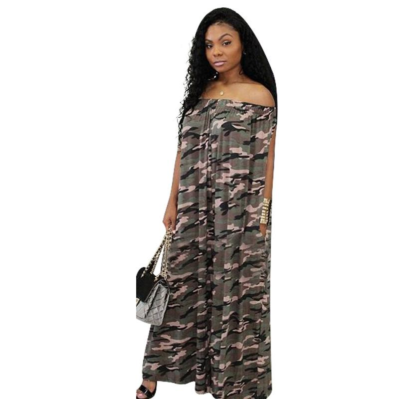 21cedfa0139 2019 Women New Autumn Off Shoulder Camouflage Print Loose Straight Long  Pants Jumpsuit Sexy Fashion Lady Beach Romper Plus Size F8127 From Vikey16