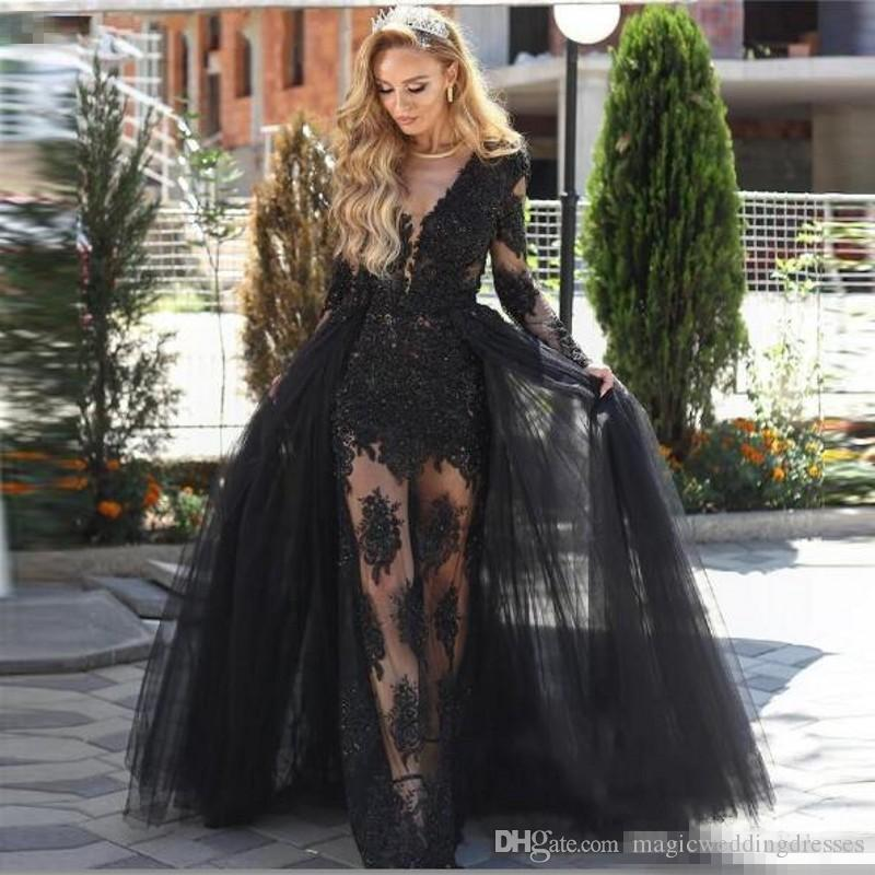 Sexy Black Sheath Prom Dresses With Train Sheer Neckline Long Sleeves Evening Dress See Through Lace Appliques Celebrity Party Gowns