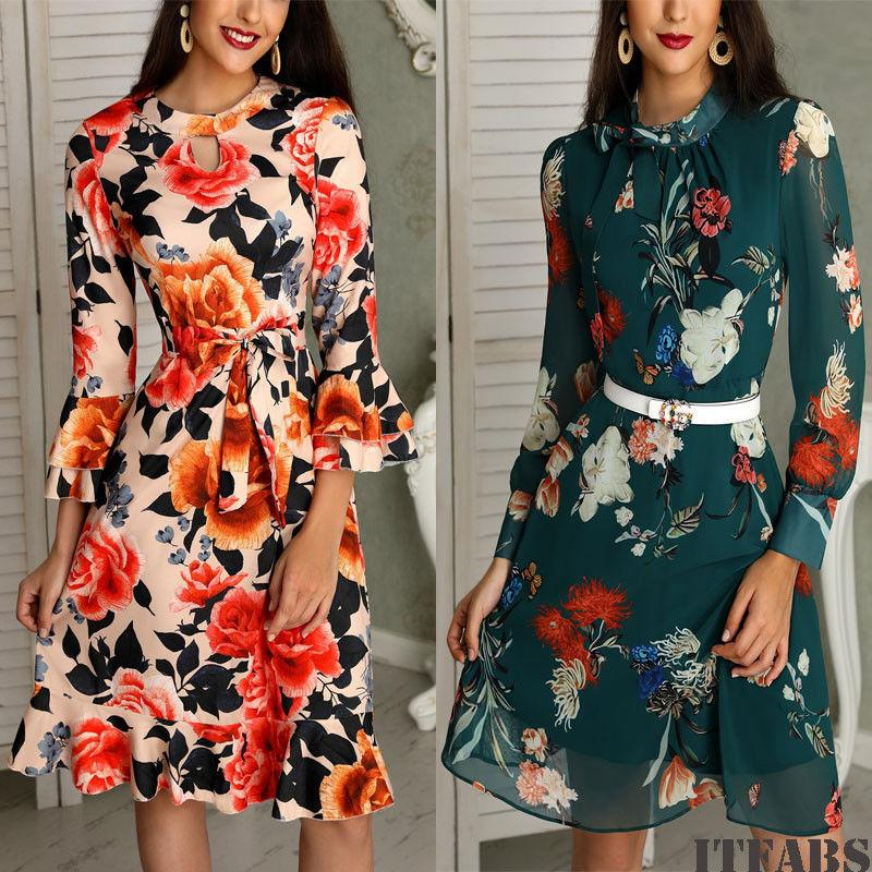 79cd8f37aad9 2019 Autumn Fashion Women Floral Chiffon Long Sleeve Bandage Dresses Casual  Party Vintage Boho Printed Mini Dress New From Your08, $25.7 | DHgate.Com