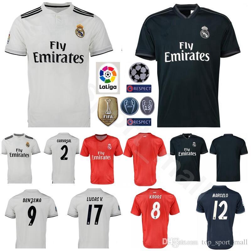 factory price 59012 b4617 FC Real Madrid La Liga Soccer 8 TONI KROOS Jersey Men 9 BENZEMA 12 MARCELO  17 VAZQUEZ 2 CARVAJAL Football Shirt Kits Uniform