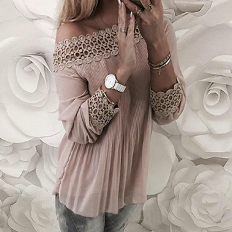 2018 Cuello Slash Sexy Blusas de gasa sueltas Blusas de verano Sólido Hollow Out Lace Patchwork Blusa plisada Camisas Mujeres Top GV434