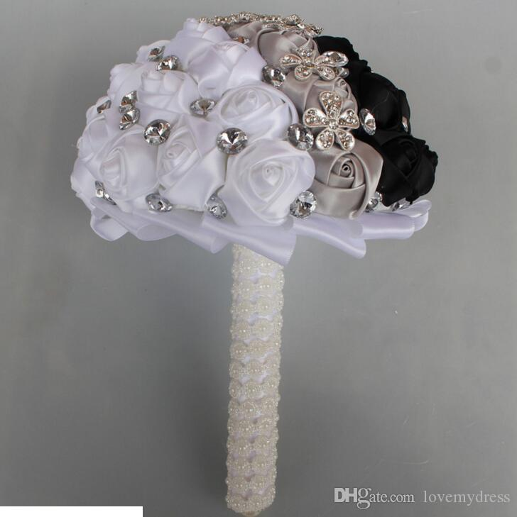 Sexy Black And White Wedding Bouquet For Bride 2020 Cheap Designer With Crystals Rhinestone Beaded Silk Flowers