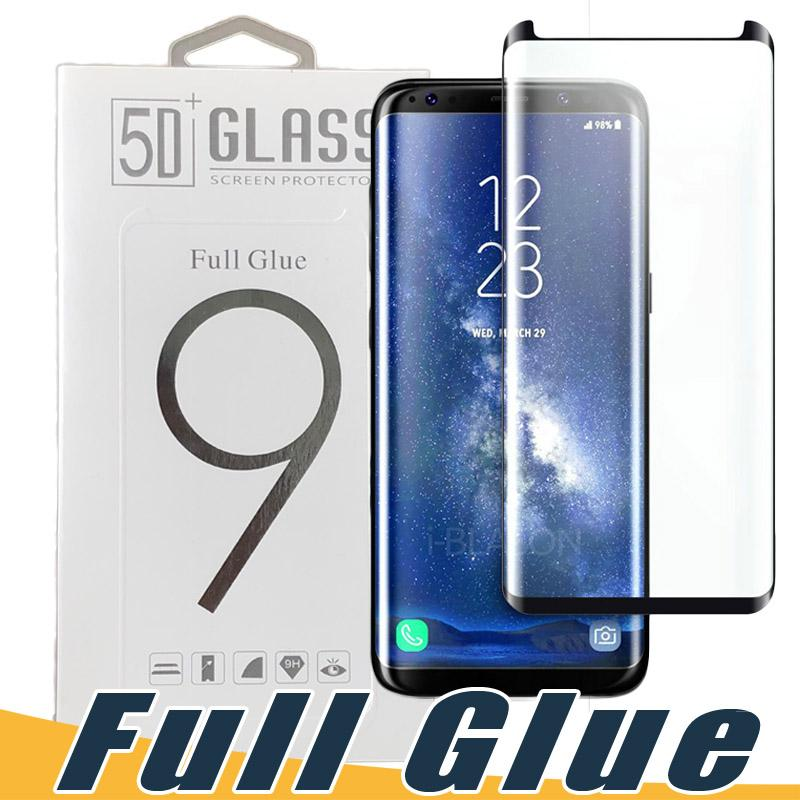 fdbf6a2c9f5 Full Glue Adhesive AB Glue Tempered Glass Case Friendly 3D Curved Screen  Protector For Samsung S8 S9 Plus Note 9 8 S7 Edge Black Clear Color 5c  Tempered ...