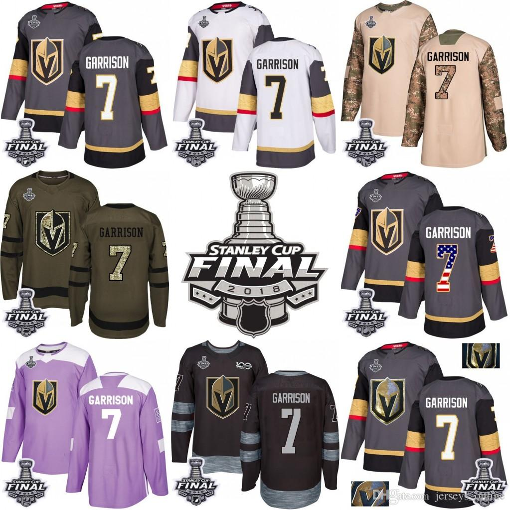 0d0ad6fae6f 2019 2018 Stanley Cup Final 7 Jason Garrison Vegas Golden Knights Green  Gray USA Flag Fashion Purple Fights Cancer Practice Gold Hockey Jerseys  From ...