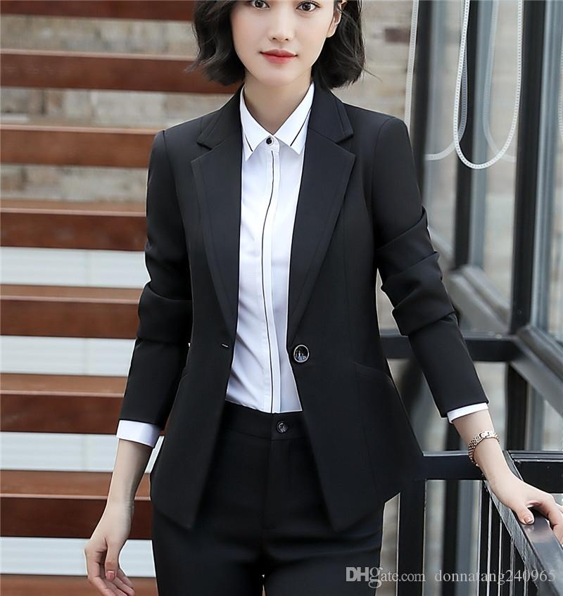 Spring Autumn Fall Black Blue Uniform Styles Formal Blazers Suit Women Jackets Coat Office Ladies Work Wear Tops Clothes Blaser Soft And Light Back To Search Resultswomen's Clothing Blazers