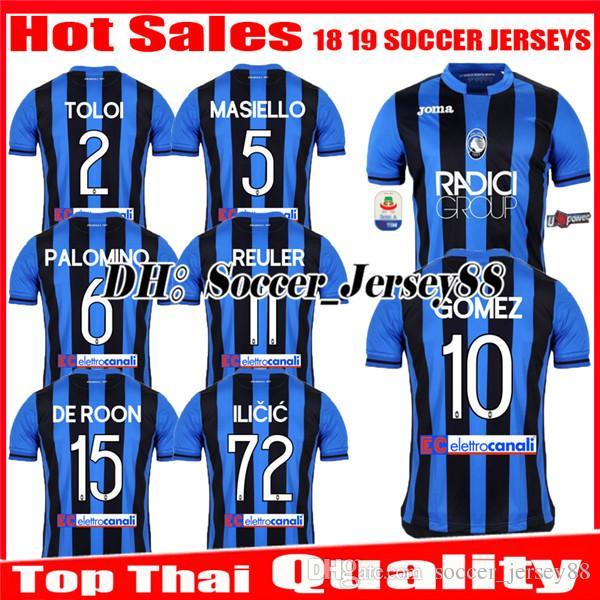 2018 2019 GOMEZ Atalanta B.C. HOME AWAY 18 19 Camiseta De Fútbol ILICIC DE  ROON REULER TOLOI Camiseta De Fútbol MASIELLO PALOMINO Uniformes JERSEYS  Por ... 54b7218313112