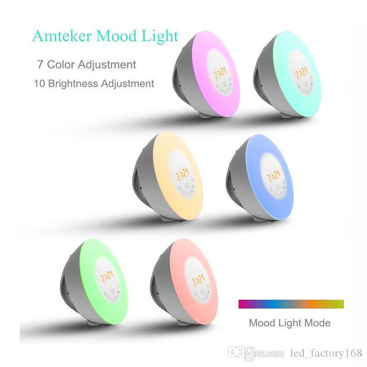 Neue Wecker Wecklicht 7 Farben Nachtlicht Radiowecker für Kinder und Schlafzimmer LED Display Touch Control Sonnenaufgang Wecker